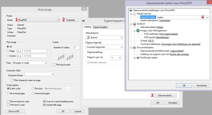 Screen dump creating pdf